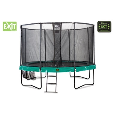 EXIT Supreme all-in-1 trampoline rond – 427 cm – donkergroen