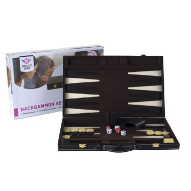 Longfield Games backgammon Piping groot – 18 inch – zwart