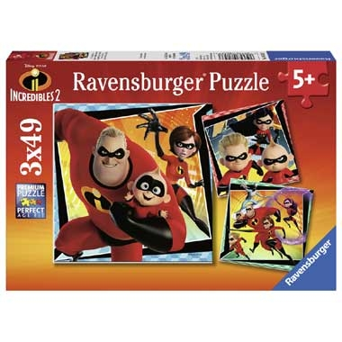 Ravensburger Disney The Incredibles 2 puzzelset – 3 x 49 stukjes